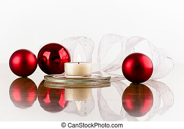 flask red white ribbon - Christmas decoration of red flask...