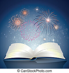 Book with Fire Works - Vector Illustration of an open Book...