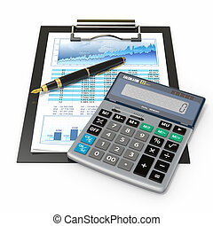 Financial concept. Stock chart, calculator and pen. -...