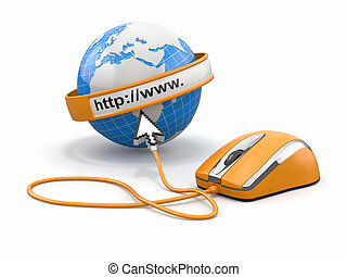 Concept of internet browser Earth, cursor and computer mouse...