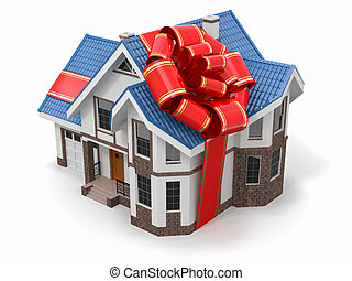 House gift Mansion with ribbon and bow 3d