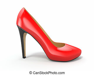 Red high heels shoe 3d - Red high heels shoe on white...