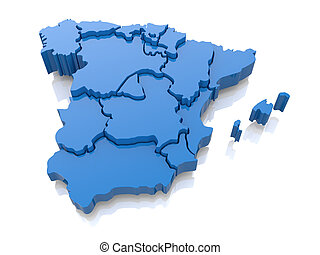 Three-dimensional map of Spain 3d - Three-dimensional map of...
