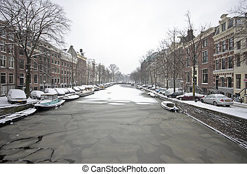 snowy Amsterdam in the Netherlands - Snowy Amsterdam in the...