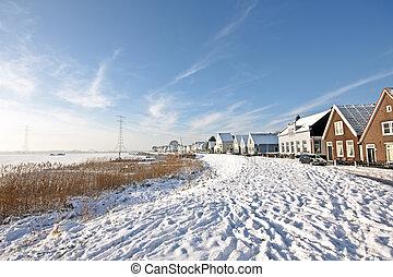 Traditional dutch village Durgerdam in the Netherlands -...