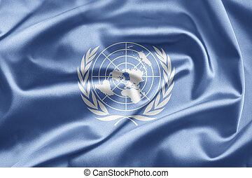 United Nations - World flags waving in the wind...