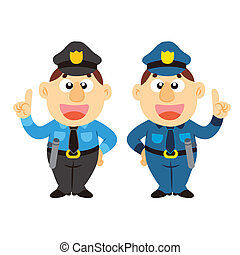 funny cartoon policeman, two colors - commentary by a funny...