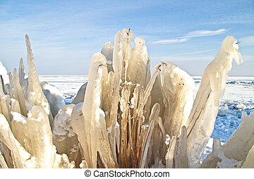 ice flowers in the IJsselmeer in winter in the Netherlands -...