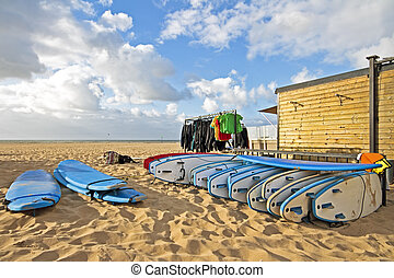 Surfboard and cloting at the beach from the north sea in the...