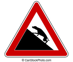 Slope warning sign for dogs