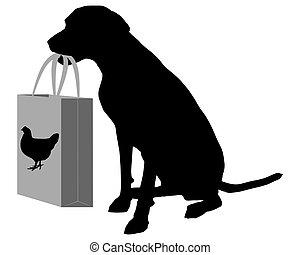 Dog shopping chicken