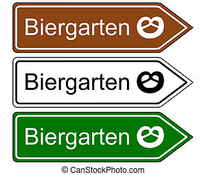 Direction sign beer garden