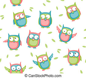 Seamless owl pattern - Seamless pattern with colorful...