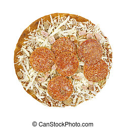 Frozen thick crust pizza - Top view of a frozen thick crust...