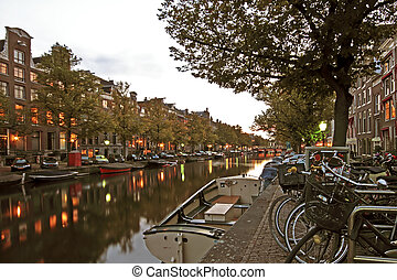 Streetview in Amsterdam the Netherlands at twilight