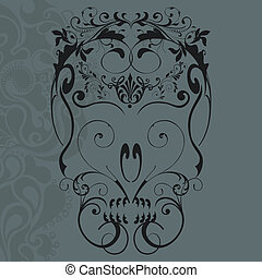 Floral ornaments skull - vector illustration of abstract...