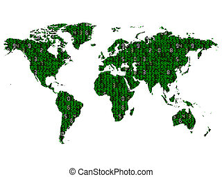 Binary World Map - World map technology information