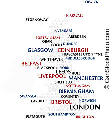 United Kingdom Word Cloud map - United Kingdom map made from...