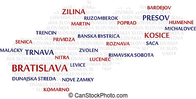 SLOVAKIA Word Cloud Map - SLOVAKIA map made from cities with...