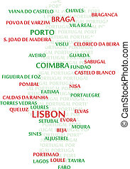 PORTUGAL Word Cloud Map - Portugal map made from cities with...