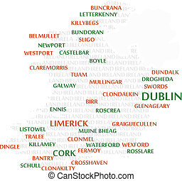 IRELAND Word Cloud Map - Ireland map made from cities with...