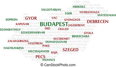HUNGARY Word Cloud Map - HUNGARY map made from cities with...