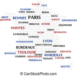 France Word Cloud map - France map made from cities with the...