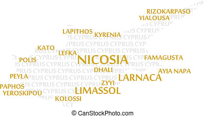 Cyprus Word Cloud Map - Cyprus map made from cities with the...