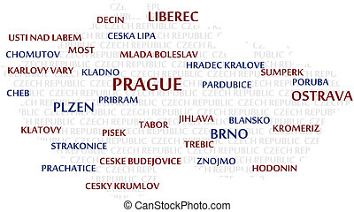 CZECH REPUBLIC Word Cloud Map - CZECH REPUBLIC map made from...