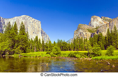 Merced River at Yosemite National Park - view to western...