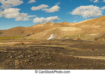 Geothermal landscape in Myvatn area - Iceland.