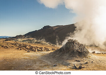 Steaming fumarole in Namafjall in north Iceland - Steaming...