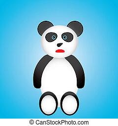 Black and white panda cartoon over blue background.