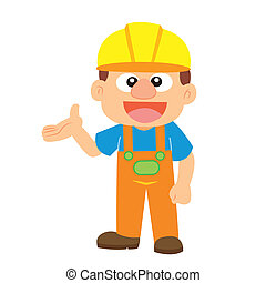 Vector illustration of a builder - commentary gesture by a...