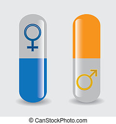 Set of pill whit man and woman signs.