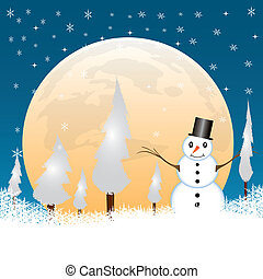 Snowman in a full moon night