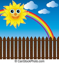 happy sun with rainbow