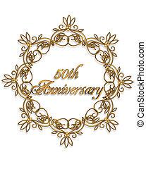 50th, anniversario, disegno, elemento