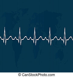 Heart pulse on map .