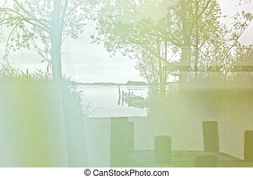 lake bank - a lake bank in the twilight on a summer day