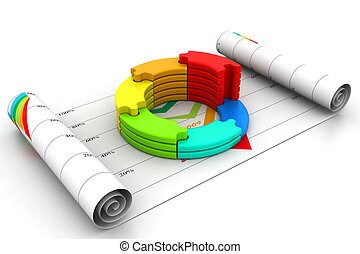 3d business graph in chart