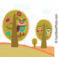 Cute colorful trees with owls