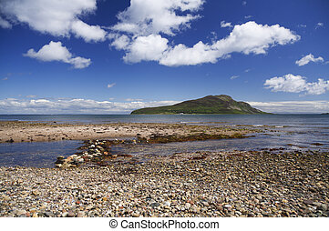 holy isle - Holy Isle just off an Arran Beach in Scotland