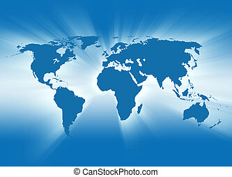 Blue Travel Earth Map Glowing - A map of the Earth is blue...