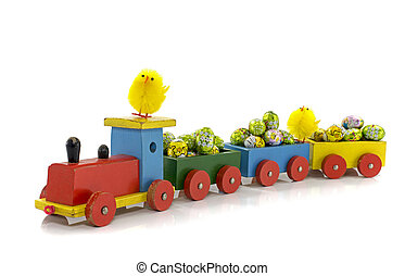 easter train with yellow duck isolated on white