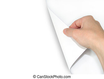 Blank Page Turning - A hand is turning a page over. The page...