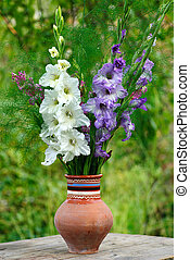 gladiolus in vase - bunch of flowers gladiolus in vase at...