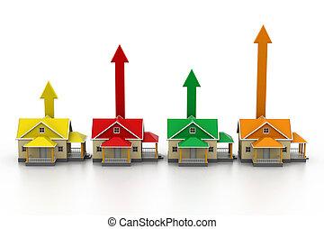 Growing home sale.(3d concept)