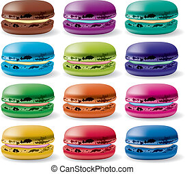 vector macarons - vector colorful set of macarons