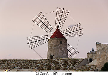 windmill at Trapani - windmill at the salt pans of Trapani...